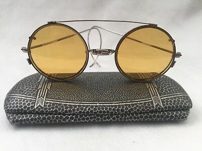 Antique Silver Tone ROUNDS w/ Amber Tint CLIP ONS Eyeglasses Spectacles + Case