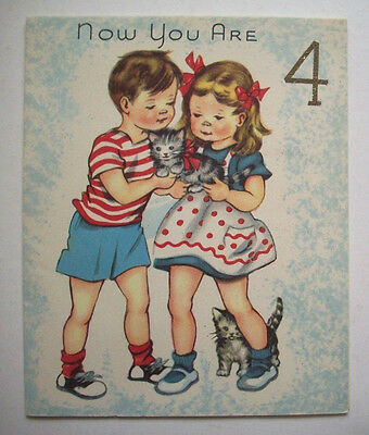 Boy Girl With Kittens Cat 4 Years Old Vintage 4th Birthday Greeting Card I2