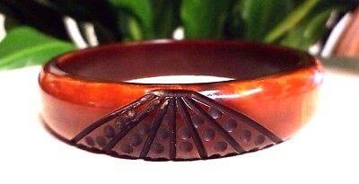 Vintage Art Deco Heavily Carved Rustic Bakelite Bangle Bracelet