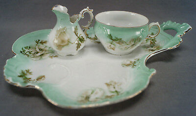 ES Prussia White Poppies & Green Tea Service For One Circa 1891 - 1900