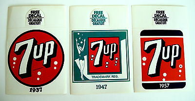 3, 7 UP Bottle Topper Hangers Advertising Different 7up Logo's Peel Off Decals