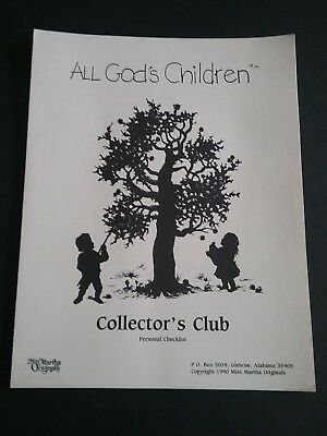 All God's Children Collector's Club Personal Checklist Miss Martha Originals