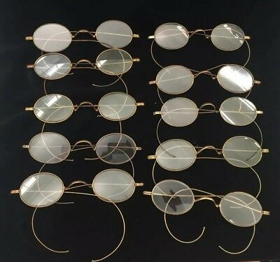 Antique BIG Lot of 10 Gold Tone Franklin Looking SPECTACLES - AS-IS-AS-SHOWN