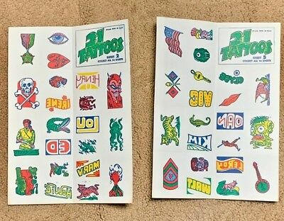 2 Unused Sheets Of Topps 1968 21 Tattoos , Numbers 2 & 5 In Near Mint Condition