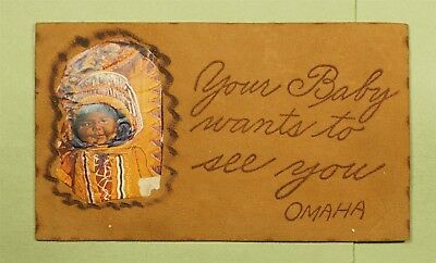 DR WHO 1906 OMAHA NE LEATHER INDIAN POSTCARD COUNCIL BLUFFS IA TO MO  d69922