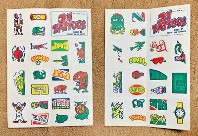 2 Unused Sheets Of Topps 1968 21 Tattoos , Numbers 6 & 7 In Near Mint Condition