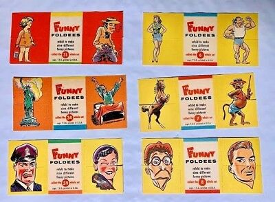 6 Unused  Topps 1949 Foldees # 6,7,8,31,34 & 59 In Mint Condition