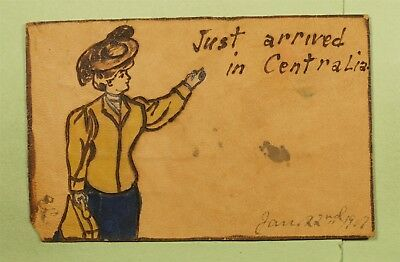DR WHO 1917 CENTRALIA WA LEATHER POSTCARD  d69965