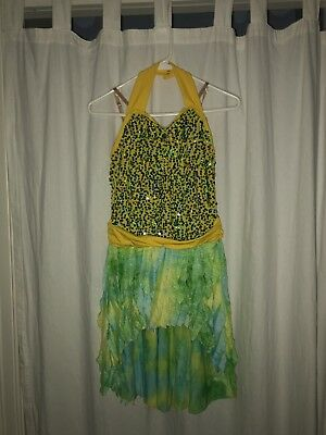 Dance Costume Yellow, Green, Blue For Tap, Jazz Or Contemporary Size Adult XS