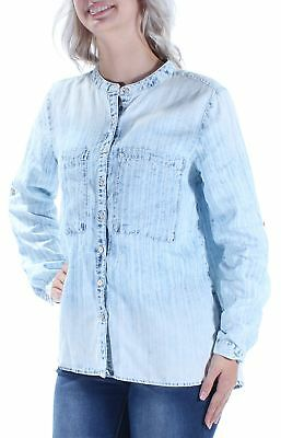 VINTAGE AMERICA BLUES $70 Womens New 1484 Light Blue Button Up Top S B+B