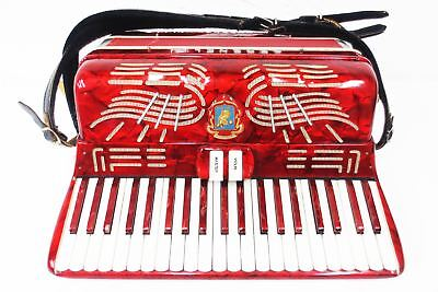 Vintage Serenelli Italy Piano Accordion, 41 Keys 120 Bass, Rare Marbled Ruby Red