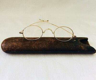Antique GOLD Tone / Filled?  FRANKLIN Look Eyeglasses  Spectacles with Tube Case