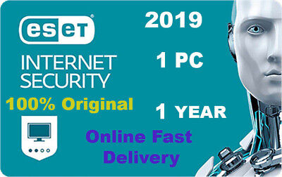 Eset Internet Security 2019 v12  1 pc 1 year Original Product key. Fast Delivery
