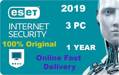 Eset Internet Security 2019 v12  3 pc 1 year Original Product key. Fast Delivery
