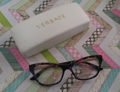 Versace Purple & Gold Tortoise Prescription Cat Eye Eyeglasses Frames