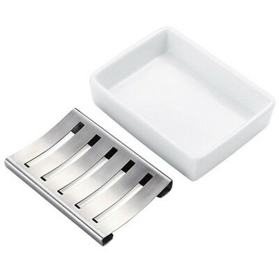 Stainless Steel Ceramic Soap Dish Holder Bathroom Shower Storage Container Box