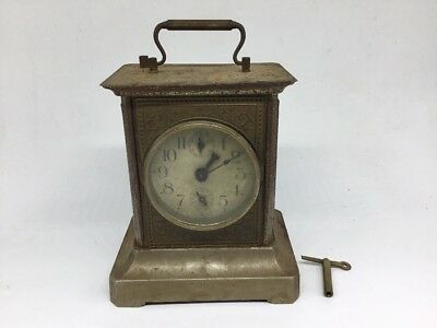 VINTAGE KC. CO. GERMAN CARRIAGE CLOCK With Key