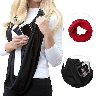 New Elegant Fashion Quality Unisex Thermal Solid Color Infinity Zip Pocket Scarf