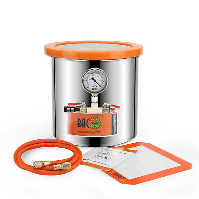 BACOENG 11.4L Glass Lid Stainless Steel Vacuum Chamber Wood Stabilizing Moudling