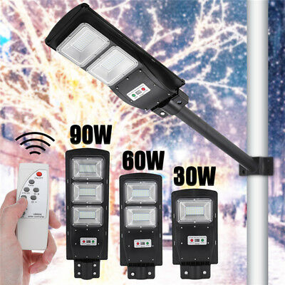 30/60/90W LED Solar Street Light Radar PIR Motion Sensor Wall Timing Lamp+Remote