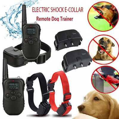 Waterproof 1000 Yard 2 Dog Shock Training Collar Pet Trainer With Remote ES