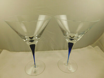 2 Signed Orrefors Sweden Intermezzo Blue Crystal Martini Glasses