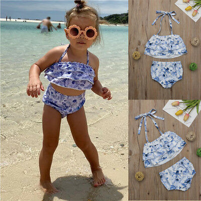 Kids Baby Girls Swimwear Bikini Tankini Swimsuit Swimming Beachwear Costume
