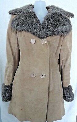 Vintage suede fake fur jacket size 10