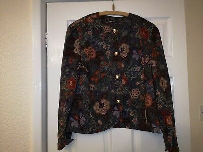 Ladies vintage Floral Print Lined Jacket By HARDOB Size 18