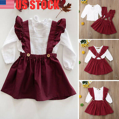 US Kids Girls Outfit Clothes T-shirt Tops+Strap Tutu Skirts 2PCS Set Dress Party
