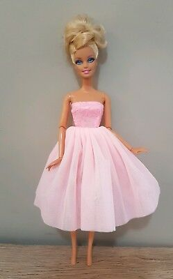 New Barbie doll clothes outfit princess  cocktail ballet dress pink