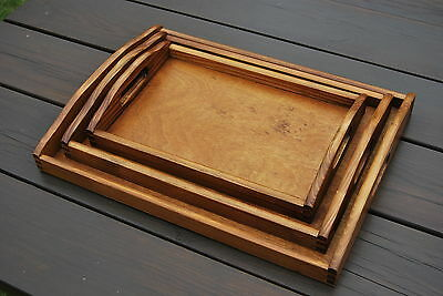 Set Of 3 Different Size Wooden Trays In Brown Color