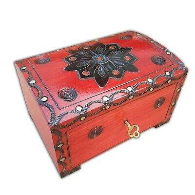 Wooden Jewellery Chest 15 Cm Long, Lock And Key In Red Color