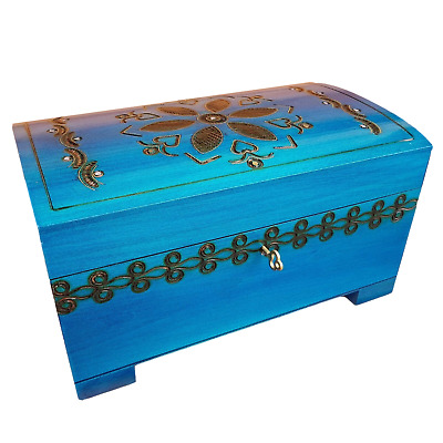 Wooden Large Jewellery Chest In Blue Color Lock And Key, Model 2