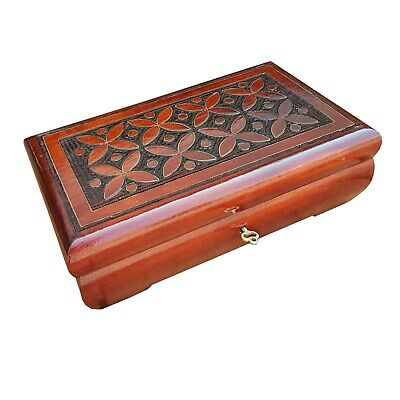 Wooden Carved Jewellery Box 25 Cm Long, Lock And Key In Brown Color