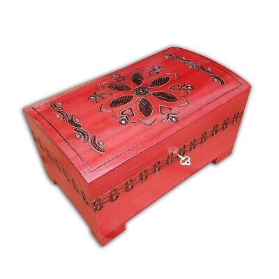 Wooden Large Jewellery Chest Lock And Key In Red Color