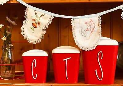 Gay Ware Red Retro Kitchen Canisters  Coffee Tea Sugar