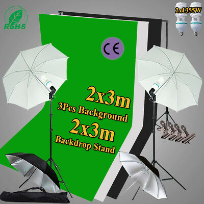 Studio Umbrella Lighting Black White Green Screen Backdrop Light 2x3m Stand Kit