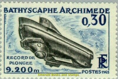 """EBS France 1963 Diving Record Bathyscaphe """"Archimedes"""" MNH** YT1368"""