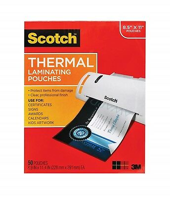 Thermal Laminating Pouches Sheets 3 Mil 50-Pack Protect Documents Laminator Home