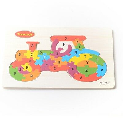 Tractor Wooden ABC Alphabet Educational Learning Children Puzzle Jigsaw Kids Toy