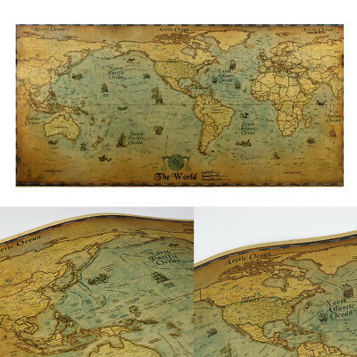 Vintage Kraft Paper World Map Detailed Poster Home Wall Art Ornament Craft