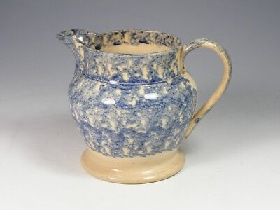 Small Antique Early 19Th Century Blue And White Spongeware Jug
