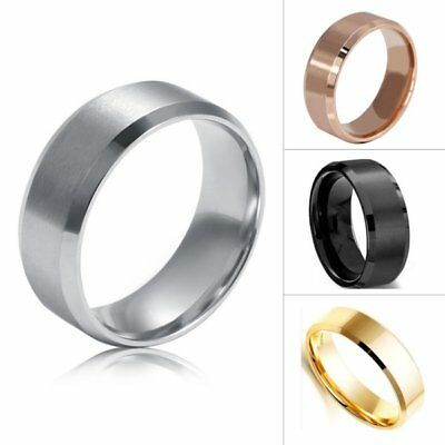 8MM Titanium Men Women Stainless Steel Band Brushed Jewelry Wedding Ring AU