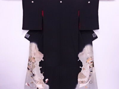 45457# Japanese Kimono / Antique Tomesode / Embroidery / Carriage & Flower