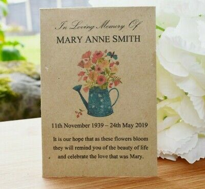 50 Funeral Favour Personalised Seed Packets Memorial/remembrance (with seeds)