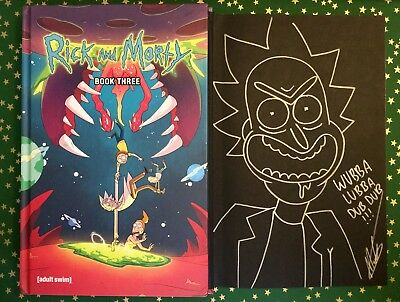 Rick and Morty Book Three Hardcover SIGNED SKETCHED Ellerby comic remarked
