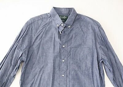 Gitman Bros Vintage Mens Blue Chambray Cotton Shirt L Large $185
