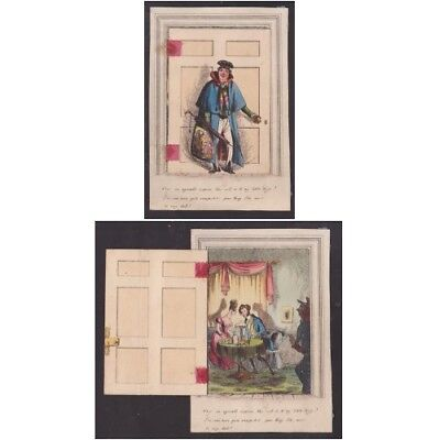 Victorian Greeting Card Comic , Man Comes Home Early To Catch Wife C1860