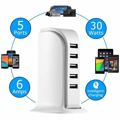 5 Port USB Charging Station Dock Stand Multi Charger Hub For Phone Tablet AA